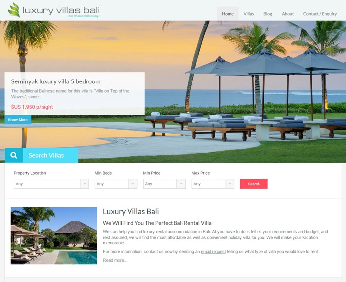 Website Design for Luxury Villas Bali