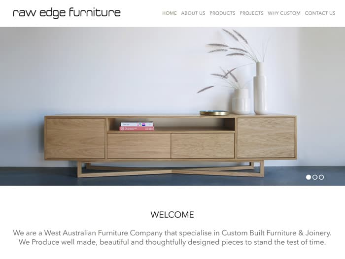 Web Design for Raw Edge Furniture