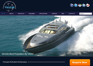 VEEM Propellers website is one of a series that Slinky Web Design developed for VEEM Ltd with a modern online content management system to help them manage their website.